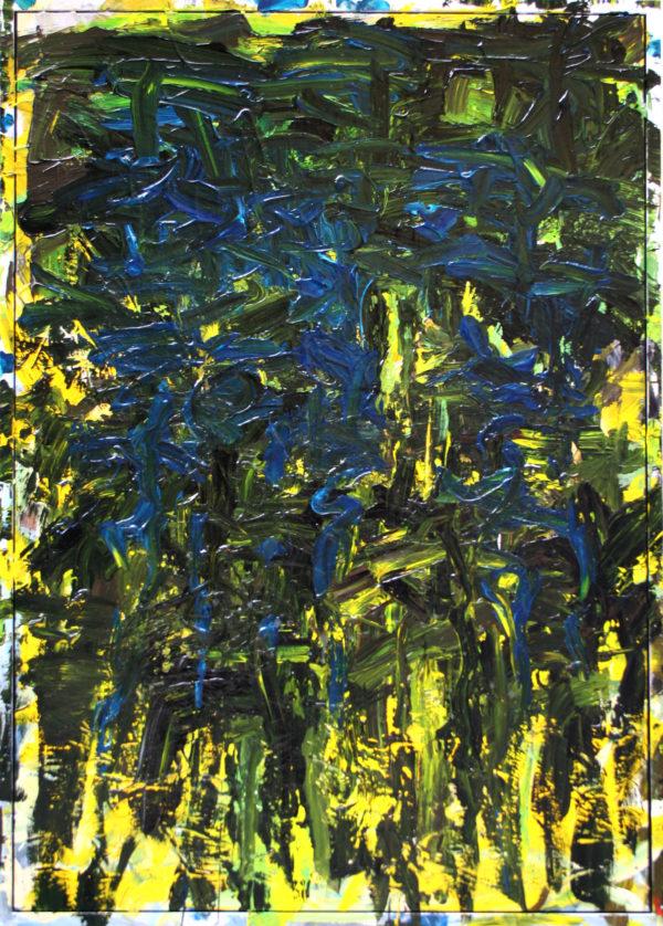 yellow lake blue trees by John Down